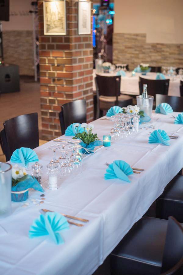 Tischdekoration blau